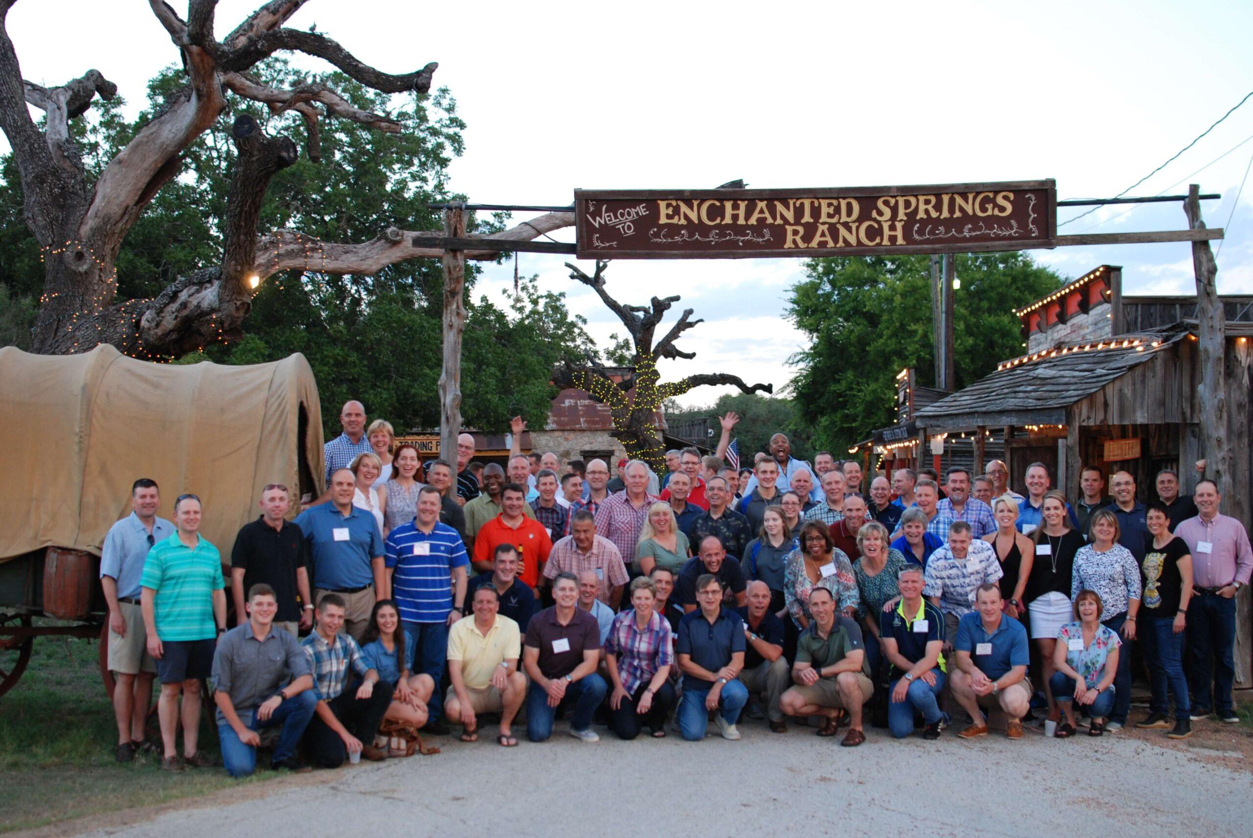 Army base guests enjoying a company picnic at Enchanted Springs Ranch